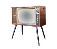Vintage television isolated with clipping path Royalty Free Stock Photos