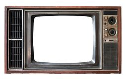 Old TV with frame screen isolate on white. Vintage television - old TV with frame screen isolate on white with clipping path for object, retro technology stock photography