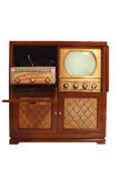 Vintage television with phongragh and radio Royalty Free Stock Images
