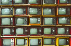 Vintage television, retro technology. stock photos