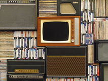 Vintage television set and books