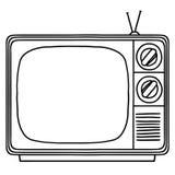 Vintage television set outline illustration. TV set drawing on white background Stock Photos