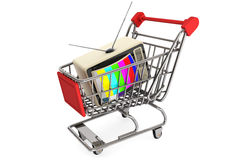 Vintage television in shopping cart Royalty Free Stock Images