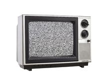 Vintage Television with Static Isolated Royalty Free Stock Photos