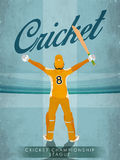 Vintage Template, Banner or Flyer for Cricket. Royalty Free Stock Photo