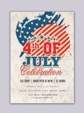 Vintage Template, Banner for 4th of July celebration. Vintage Template, Banner or Flyer design for 4th of July, American Independence Day Royalty Free Stock Photos