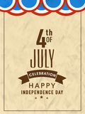 Vintage Template, Banner for 4th of July. Vintage Template, Banner or Flyer design for 4th of July, Happy American Independence Day celebration Stock Image