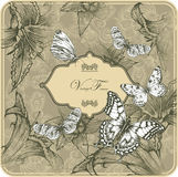 Vintage template with butterflies and blooming lil Stock Photo