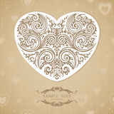Vintage template with decorative heart. Vintage template with ornamental heart on seamless decorative background Stock Images