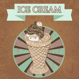 Vintage template design ice cream poster with the grange texture Royalty Free Stock Image