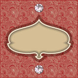 Vintage template with diamond jewel on floral Royalty Free Stock Photo
