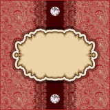 Vintage template with diamond jewel on floral Royalty Free Stock Photography