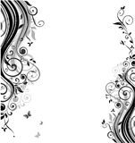 Vintage template. With floral black and white design stock illustration