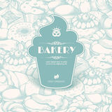 Vintage template with label sticker form cupcake royalty free illustration