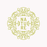 Vintage template for natural cosmetics. Vintage template for natural cosmetics with floral linear ornament. Vector illustration Stock Image
