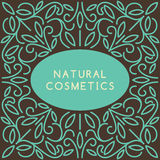 Vintage template for natural cosmetics. Vintage template for natural cosmetics with floral linear ornament. Vector illustration Royalty Free Stock Image