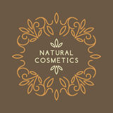 Vintage template for natural cosmetics. Vintage template for natural cosmetics with floral linear ornament. Vector illustration Stock Images