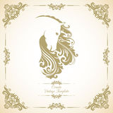 Vintage template with ornament and decorative floral horse. vector illustration