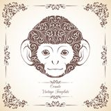 Vintage template with ornament and decorative monkey. Symbol of 2016. Vintage template with ornament and decorative monkey. Symbol of 2016 Stock Photography