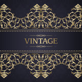 Vintage template with ornate borders. Ornamental gold pattern for invitation, greeting card, certificate vector illustration