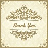 Vintage template with pattern and ornate borders. Ornamental design for invitation, greeting card, certificate. Thank You.  royalty free illustration