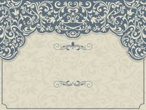 Vintage template with pattern and ornate borders. Ornamental lace pattern for invitation, greeting card, certificate Royalty Free Stock Photography