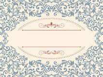 Vintage template with pattern and ornate borders. Ornamental lace pattern for invitation, greeting card, certificate stock illustration