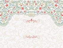 Vintage template with pattern and ornate borders. Stock Images
