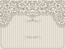 Vintage template with pattern and ornate borders. Ornamental lace pattern for invitation, greeting card, certificate vector illustration