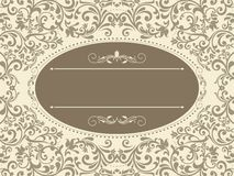 Vintage template with pattern and ornate borders. Royalty Free Stock Images