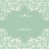 Vintage template with pattern and ornate borders. Ornamental lace pattern for invitation, greeting card, certificate Royalty Free Stock Photo