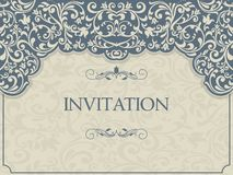 Vintage template with pattern and ornate borders. Stock Photography