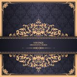 PrintVintage template with pattern and ornate borders. Ornamental lace pattern for invitation, greeting card, certificate. Vintage template with pattern and Stock Images