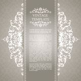 Vintage template with pattern and ornate borders. Ornamental lace pattern for invitation, greeting card, certificate. Vintage template with pattern and ornate royalty free illustration