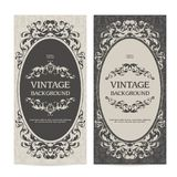 Vintage template set vertical banners with ornamental borders and patterned background. Wedding invitation, Greeting Card. stock illustration
