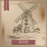 Vintage template with windmill and hill landscape Stock Photo