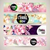 Vintage templates set spring horizontal banner. Stock Images