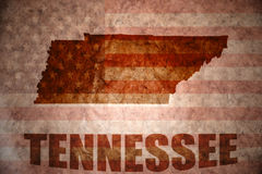 Vintage tennessee map. Tennessee map on a vintage american flag background Royalty Free Stock Photography