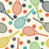 Vintage tennis pattern. Vintage style pattern design with racket and tennis ball Royalty Free Stock Images