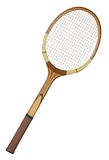 Vintage tennis racket. Old wooden tennis racket isolated on white background Stock Photography