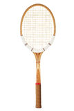 Vintage tennis racket. Retro wooden tennis racket isolated on white Royalty Free Stock Photos