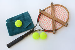 Vintage tennis racket whit accessories Stock Image