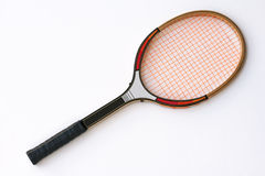 Tennis racket vintage. Vintage tennis racket on a white background Royalty Free Stock Images