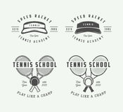 Vintage tennis sport logo, emblem, badge, label or mark. Vector Illustration Stock Image