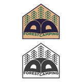Vintage tent emblem with forest royalty free illustration