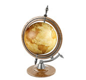 Vintage terrestrial globe. Isolated on white background stock image