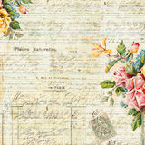 Vintage Text Background with Floral frame. And stamp Stock Photography