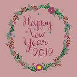 Happy New Year 2019 . stock illustration