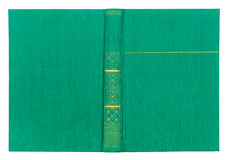 Vintage textile green book cover with gold pattern Stock Photo