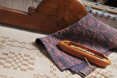 Vintage textile industry. Tools and product of an old handloom stock image